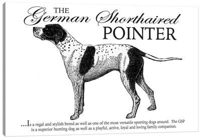 Vintage German Shorthaired Pointer Storybook Style Canvas Art Print