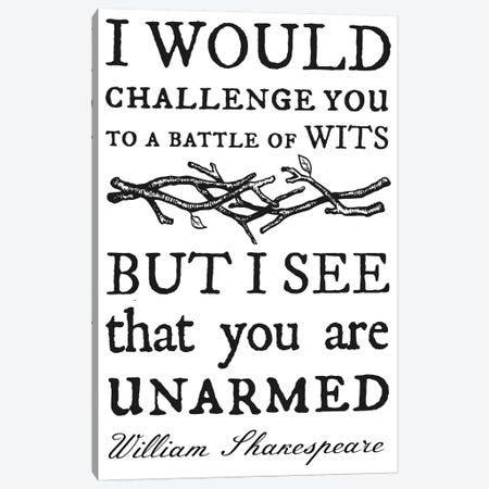 Battle Of Wits Typography Canvas Print #TRA12} by Traci Anderson Canvas Print
