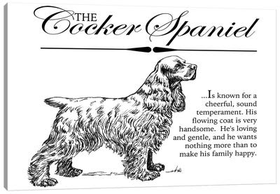 Vintage Storybook Style Cocker Spaniel Canvas Art Print