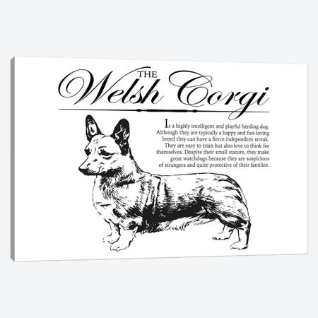 Vintage Welsh Corgi Storybook Style Canvas Print #TRA141} by Traci Anderson Canvas Artwork