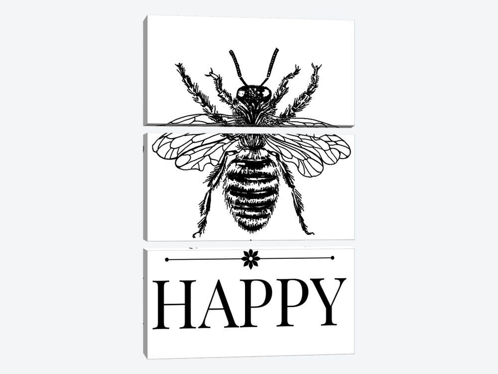 Bee Happy Vintage Art by Traci Anderson 3-piece Canvas Artwork