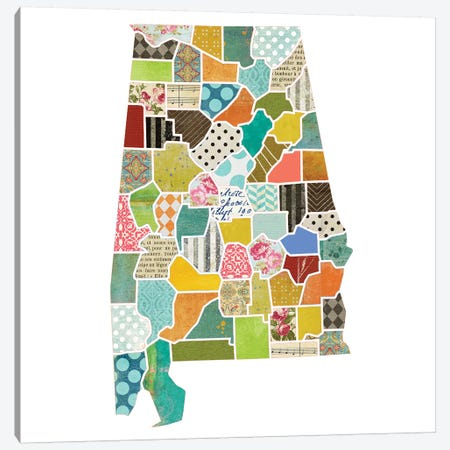 Alabama Quilted Collage Map Canvas Print #TRA153} by Traci Anderson Canvas Art Print