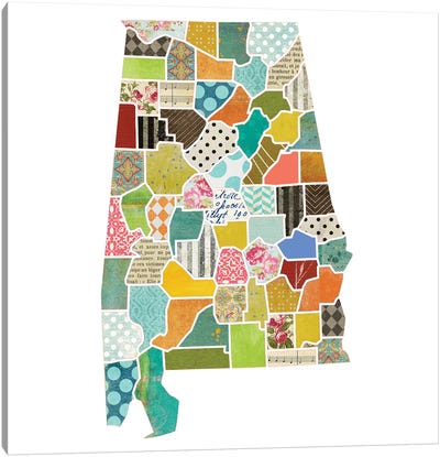 Alabama Quilted Collage Map Canvas Art Print
