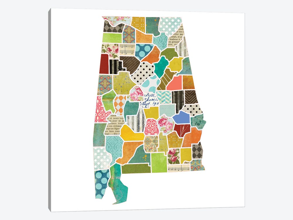 Alabama Quilted Collage Map by Traci Anderson 1-piece Art Print