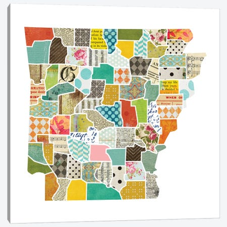 Arkansas Quilted Collage Map Canvas Print #TRA155} by Traci Anderson Canvas Wall Art