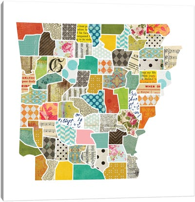 Arkansas Quilted Collage Map Canvas Art Print