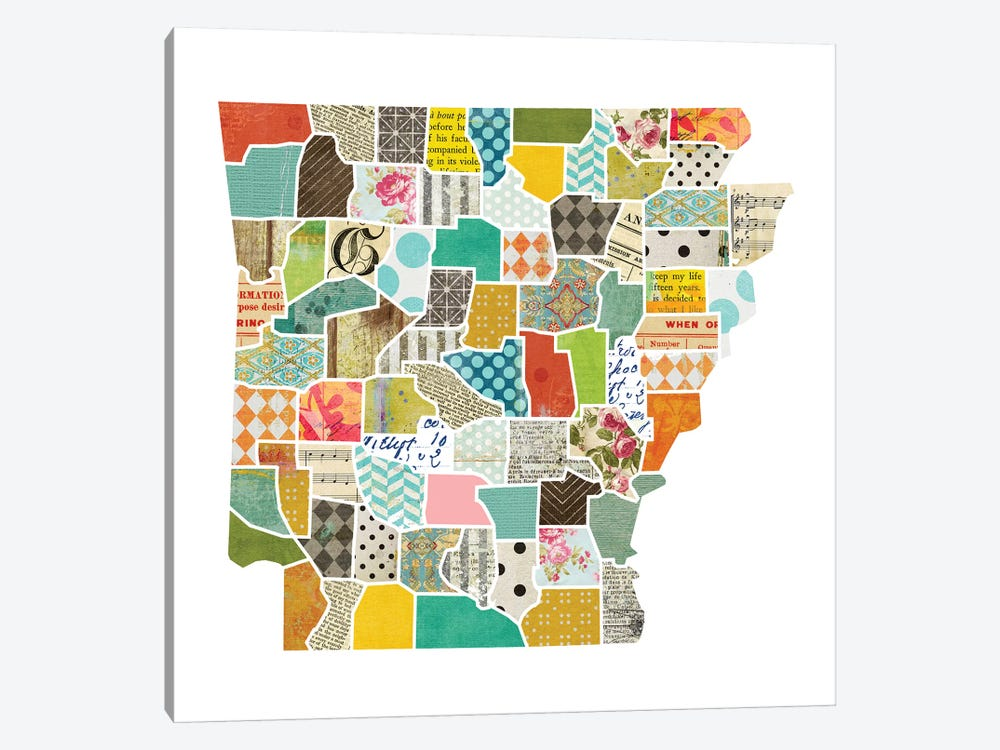 Arkansas Quilted Collage Map by Traci Anderson 1-piece Art Print