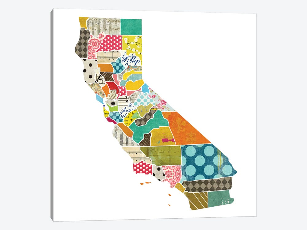 California Quilted Collage Map by Traci Anderson 1-piece Canvas Wall Art