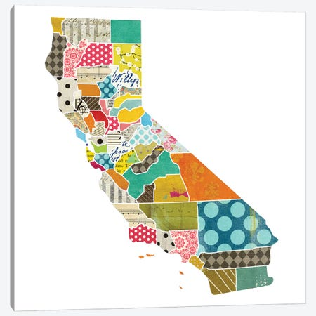 California Quilted Collage Map Canvas Print #TRA156} by Traci Anderson Canvas Wall Art