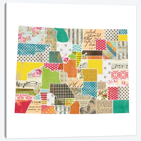 Colorado Quilted Collage Map Canvas Print #TRA157} by Traci Anderson Canvas Artwork