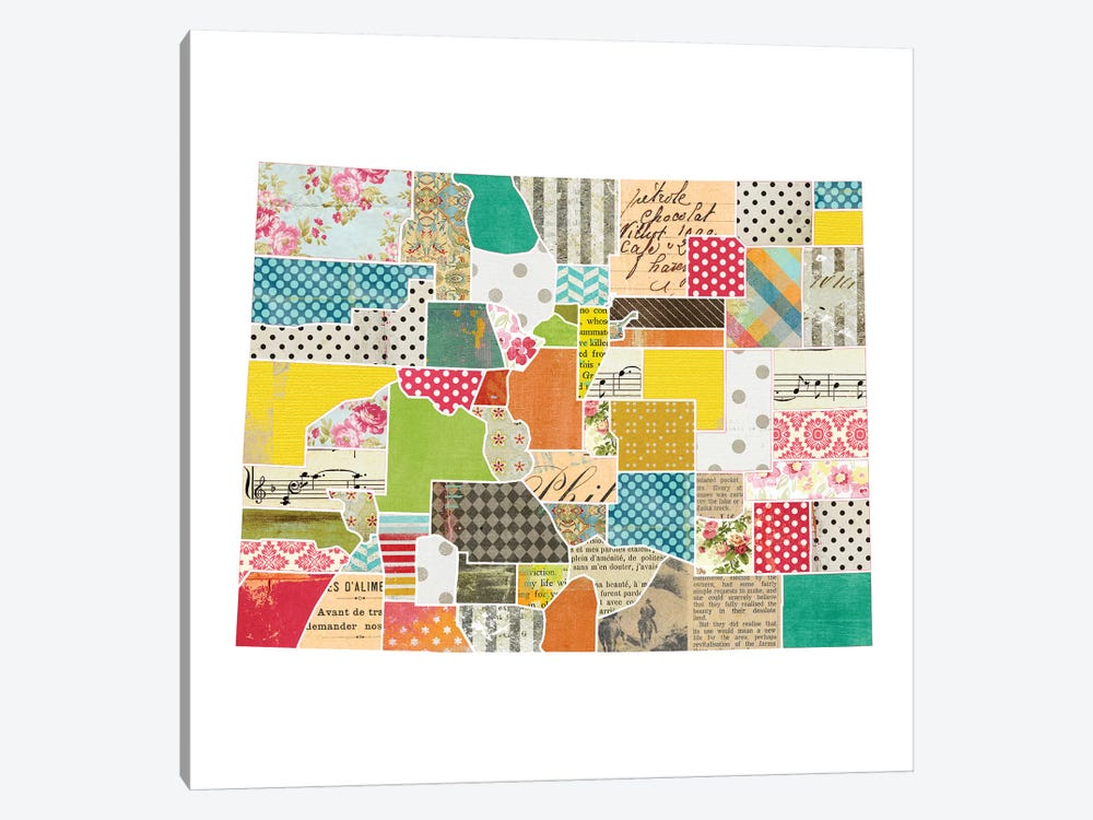 Colorado Quilted Collage Map by Traci Anderson 1-piece Canvas Art Print