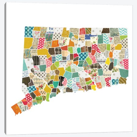Connecticut Quilted Collage Map Canvas Print #TRA158} by Traci Anderson Canvas Print