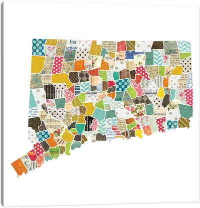 Connecticut Quilted Collage Map Canvas Art Print