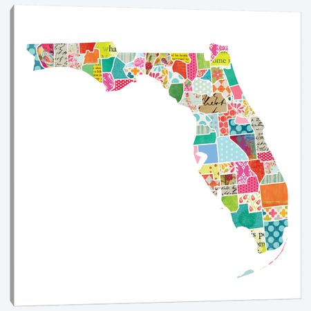 Florida Quilted Collage Map Canvas Print #TRA160} by Traci Anderson Canvas Art