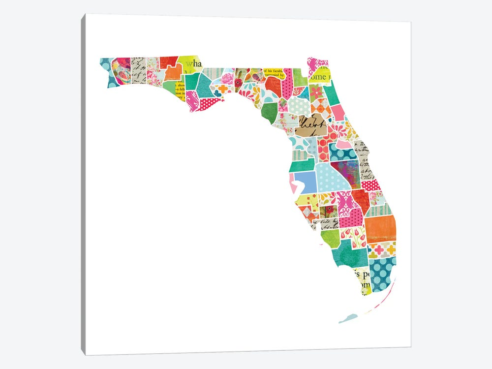 Florida Quilted Collage Map by Traci Anderson 1-piece Canvas Print