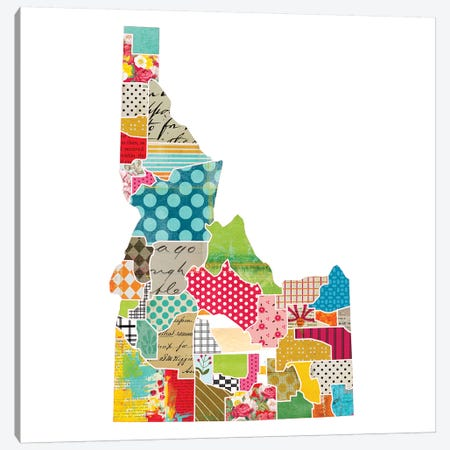 Idaho Quilted Collage Map Canvas Print #TRA162} by Traci Anderson Canvas Wall Art