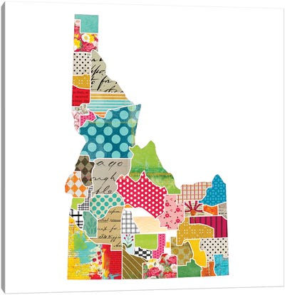 Idaho Quilted Collage Map Canvas Art Print