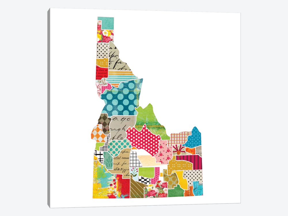 Idaho Quilted Collage Map by Traci Anderson 1-piece Canvas Art Print