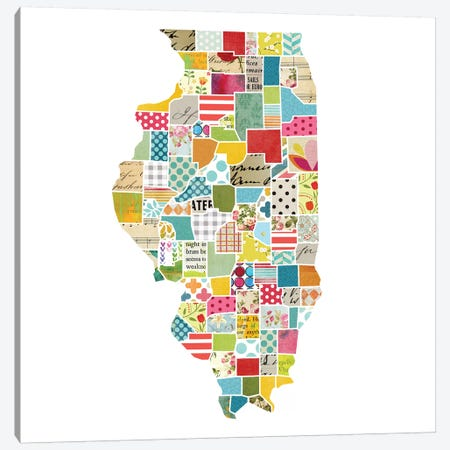 Illinois Quilted Collage Map Canvas Print #TRA163} by Traci Anderson Canvas Artwork