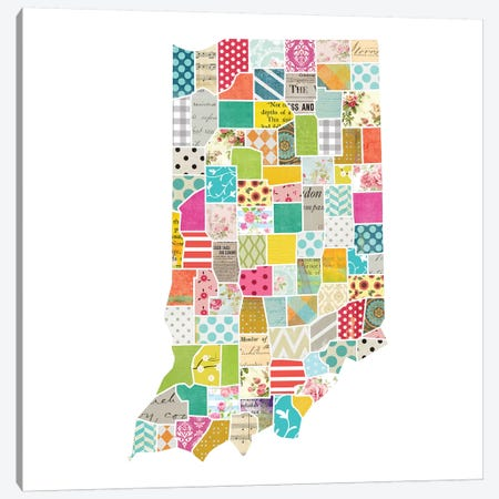 Indiana Quilted Collage Map Canvas Print #TRA164} by Traci Anderson Art Print