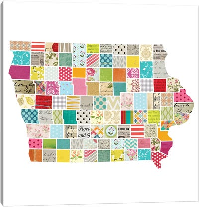 Iowa Quilted Collage Map Canvas Art Print