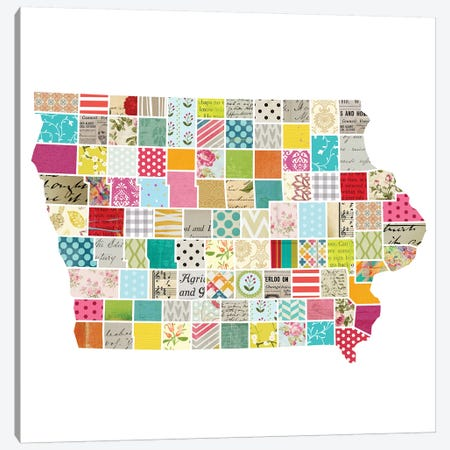 Iowa Quilted Collage Map Canvas Print #TRA165} by Traci Anderson Art Print