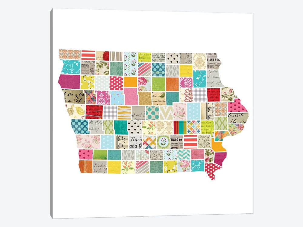 Iowa Quilted Collage Map by Traci Anderson 1-piece Canvas Art