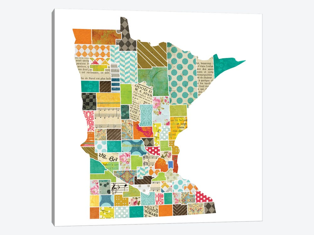Minnesota Quilted Collage Map by Traci Anderson 1-piece Art Print
