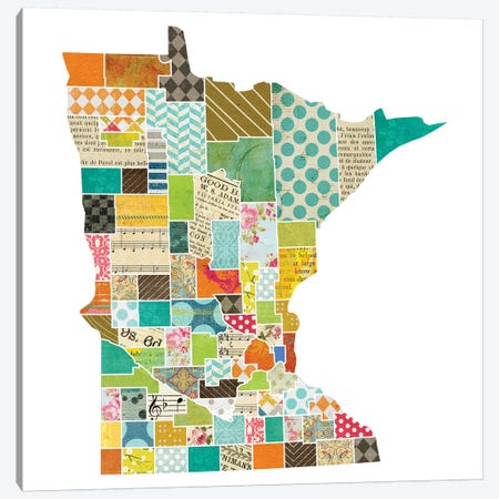 Minnesota Quilted Collage Map Canvas Print #TRA166} by Traci Anderson Canvas Art Print