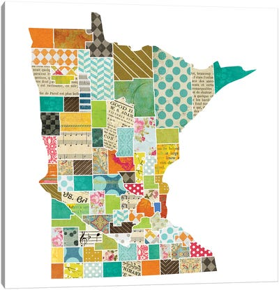 Minnesota Quilted Collage Map Canvas Art Print