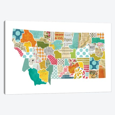 Montana Quilted Collage Map Canvas Print #TRA167} by Traci Anderson Canvas Art Print