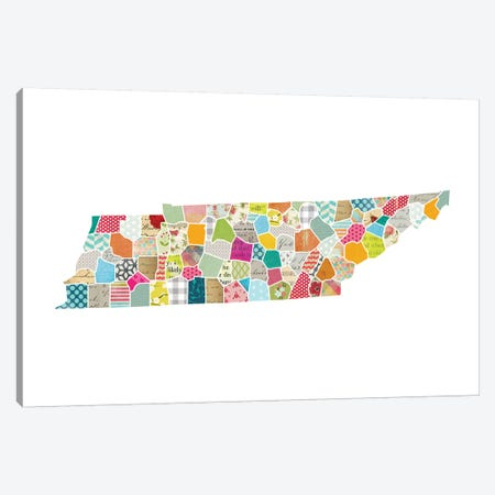Tennessee Quilted Collage Map Canvas Print #TRA168} by Traci Anderson Canvas Artwork