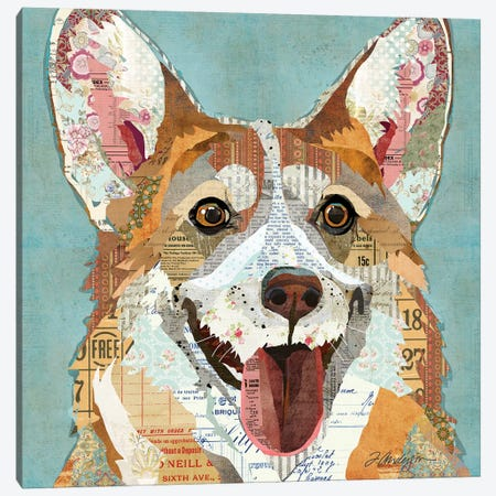 Happy And Colorful Corgi Canvas Print #TRA171} by Traci Anderson Canvas Print