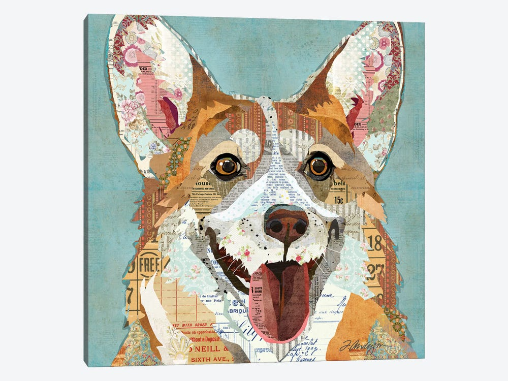 Happy And Colorful Corgi 1-piece Canvas Art Print