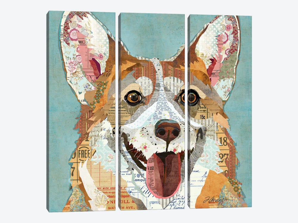 Happy And Colorful Corgi by Traci Anderson 3-piece Art Print