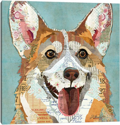 Happy And Colorful Corgi Canvas Art Print