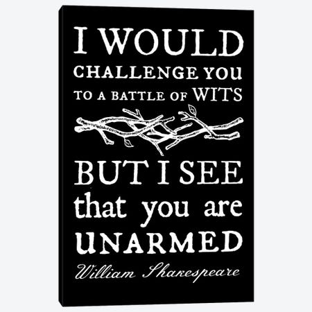 Battle Of Wits Typography On Black Canvas Print #TRA174} by Traci Anderson Canvas Artwork