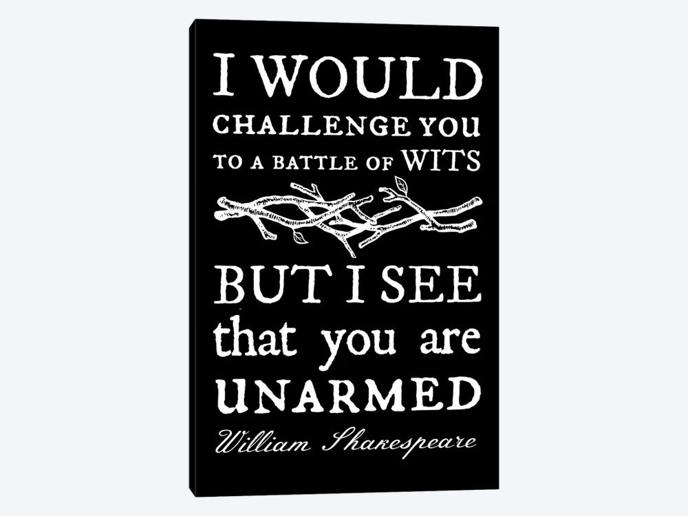 Battle Of Wits Typography On Black by Traci Anderson 1-piece Canvas Art