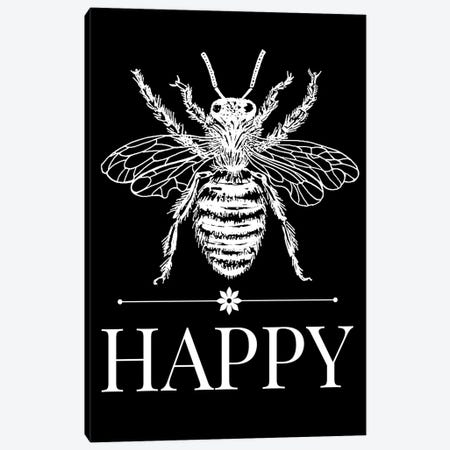 Bee Happy Vintage Bee Illustration On Black Canvas Print #TRA175} by Traci Anderson Canvas Art