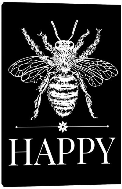 Bee Happy Vintage Bee Illustration On Black Canvas Art Print