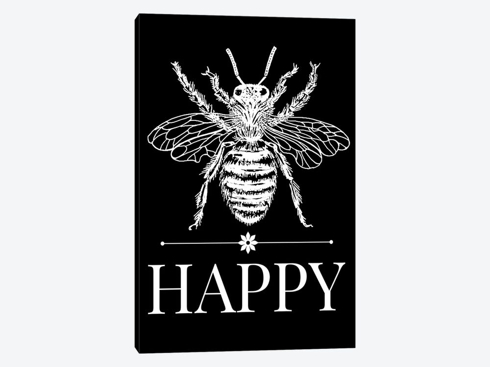 Bee Happy Vintage Bee Illustration On Black by Traci Anderson 1-piece Art Print
