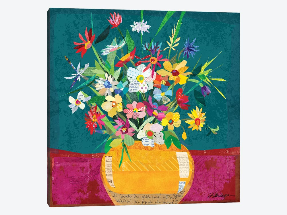 Collage Flower Pot Still Life by Traci Anderson 1-piece Canvas Art