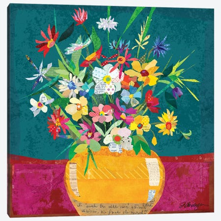 Collage Flower Pot Still Life Canvas Print #TRA176} by Traci Anderson Canvas Art
