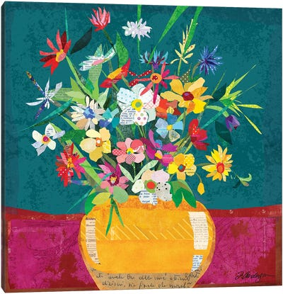 Collage Flower Pot Still Life Canvas Art Print