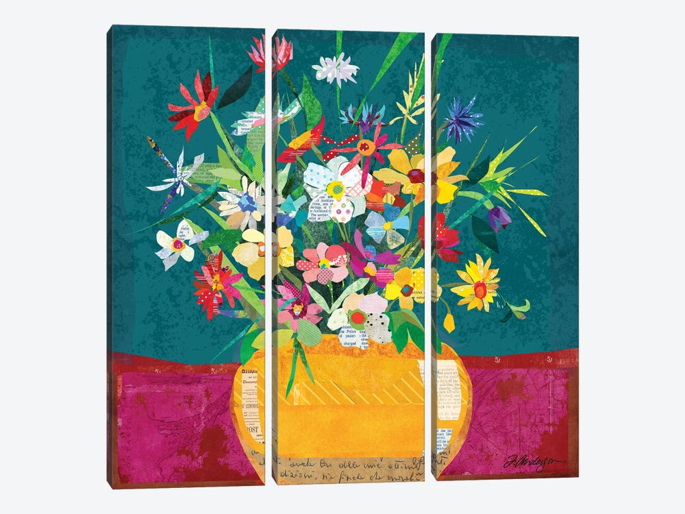 Collage Flower Pot Still Life by Traci Anderson 3-piece Canvas Wall Art