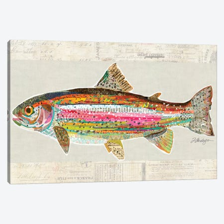Collage Big Horn River Rainbow Trout Canvas Print #TRA183} by Traci Anderson Canvas Wall Art