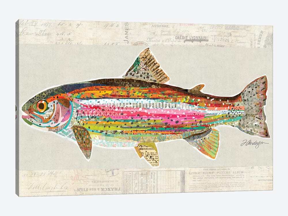 Collage Big Horn River Rainbow Trout by Traci Anderson 1-piece Canvas Art