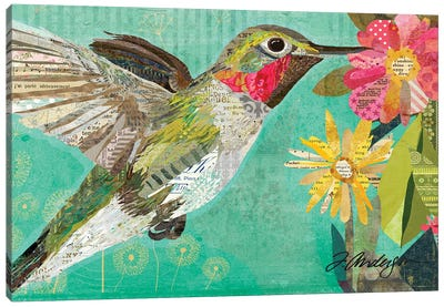 Mom's Hummingbird Collaged Canvas Art Print