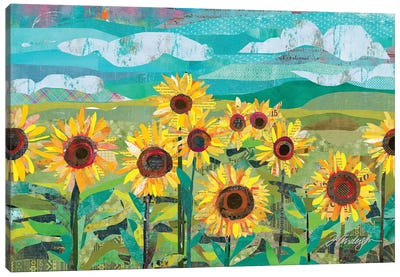 Sunflowers At Dusk Canvas Art Print