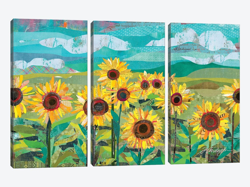 Sunflowers At Dusk by Traci Anderson 3-piece Canvas Art Print